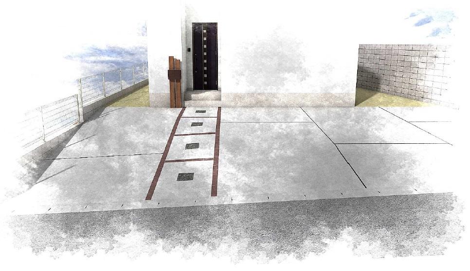 完成イメージ:玄関+駐車場
